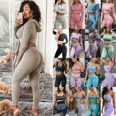 Women Seamless Yoga Suit Top+Leggings Sports Set Fitness Gym Stretch Outfits O1