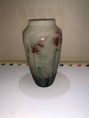 Small Vase Pâte de Verre Daum Nancy Flowers Wallflowers New Art Xixème
