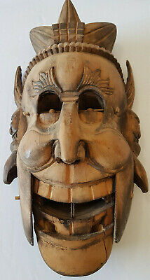 Chinese Weird Carved Mask Ritual Ceremonial articulating wall decor collectible