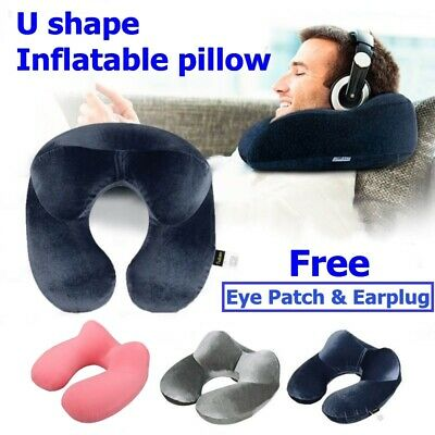 U Inflatable Air Travel Pillow Airplane Office Nap Rest Neck Head Chin Cushion