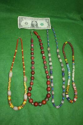 Lot Of 4 Vintage / Antique Glass & Stone Trade Bead Necklaces Greasy Beads
