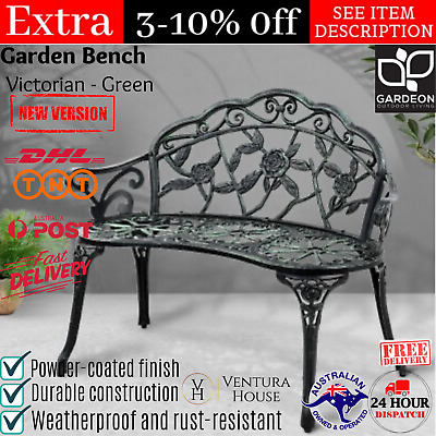 Victorian Garden Bench Outdoor Patio Cast Iron Steel Outside Porch Yard Seat New