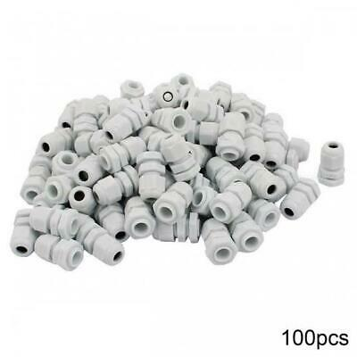 100 x Waterproof Plastic Cable Glands IP68 PG7 3mm - 6mm WHITE GREY