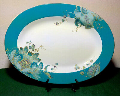 "222 Fifth ELIZA TEAL 14 1/8"" Oval Serving Platter BEAUTIFUL"