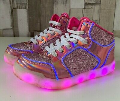 Sketchers Light Up Girls Energy Lights Ultra Pink High Top Trainers Size UK 12