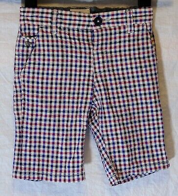 Boys Jasper Conran Blue White Red Checked Textured Smart Long Shorts Age 5 Years