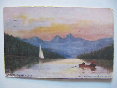 The Langdale Pikes (Lake District) - Vintage Oilette Postcard (Posted 1906)
