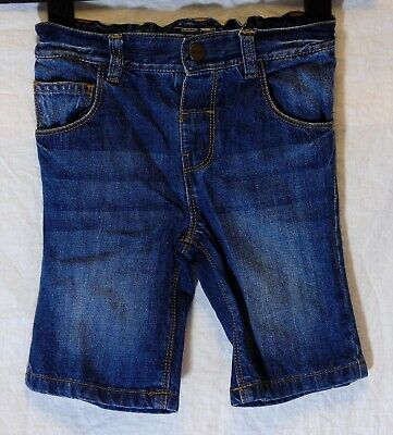 Boys Next Blue Whiskered Denim Adjustable Waist Long Board Shorts Age 4-5 Years