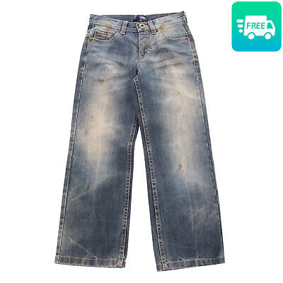 RRP€120 ROBERTO CAVALLI DEVILS Jeans Size 6Y Blue Dirty Look Faded Made in Italy