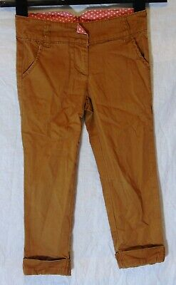 Girls Next Tan Brown Chino Cotton Adjustable Waist Smart Trousers Age 6 Years