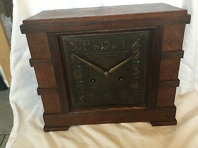 Large Antique Wooden Mantle Clock (In Need Of Repair)