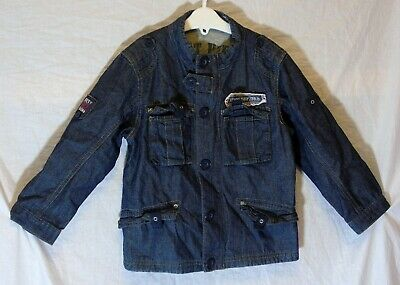 Boys Next Dark Blue Denim Cotton Lined Military Style Jacket Coat Age 3-4 Years