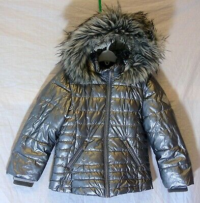 Girls Next Silver Grey Fur Trim Padded Puffa Hooded Warm Winter Coat Age 5 Years
