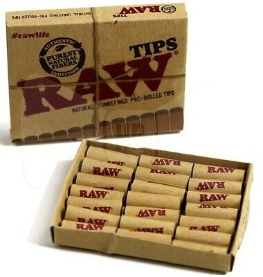 RAW NATURAL UNREFINED PRE-ROLLED FILTER TIPS FOR ROLLING PAPERS PACK 21pcs
