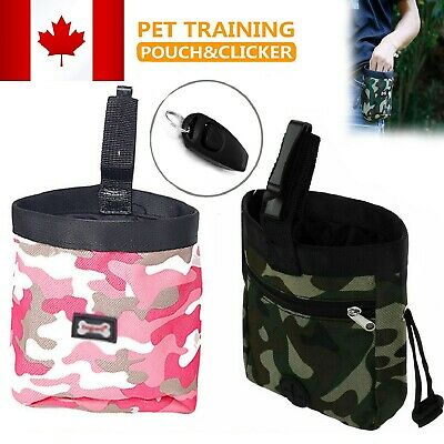 Dog Pet Training Treat Bag Feed Pouch Food Storage w/ Training Whistle & Clicker