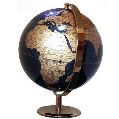 STUNNING World Globe Navy Blue and Copper/Gold Rose Gold Home Decor Wedding 25cm