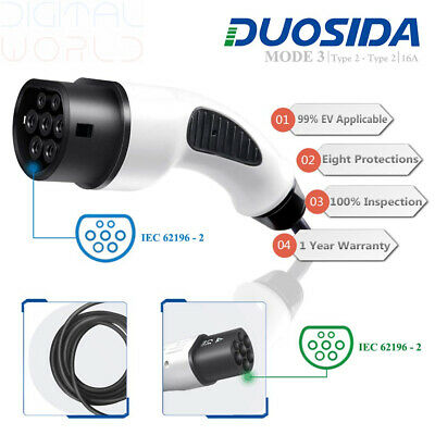 DUOSIDA Portable EV Charger Type 2 to 2(16a) Electric Vehicle 8.5m