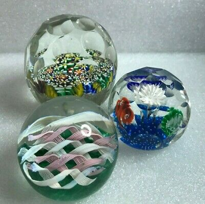 MCM FRATELLI TOSO Murano Art Glass Paperweights(3) filigrana canes ITALY