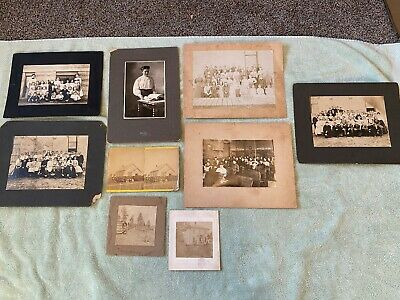 LOT of 9 Antique Late 1800s Early 1900s Classroom Chruch Photos Photographs