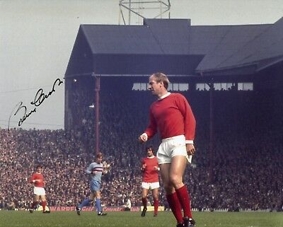 1966 World Cup winner Sir Bobby Charlton signed Manchester United action photo