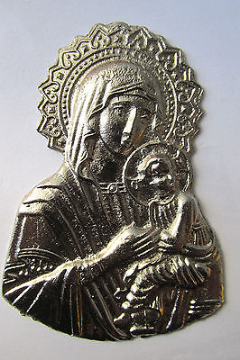 Old Russian brass orthodox icon VIRGIN MARY & JESUS F2