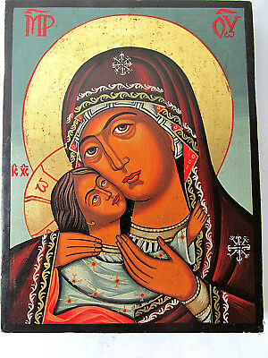"""Old VTG Orthodox hand painted icon Holy Virgin  Mary-""""Our Lady of Tenderness"""" F1"""
