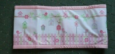 "Breathable Baby Cot Bumper - Size 48"" - Pink - NEW - Birds"