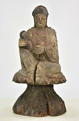 Antique Chinese Red & Gilt Wood Carved Statue / Figure Guan / Kwan Yin, 19th c