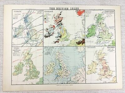 1894 Antique Map of The British Isles Climate Geological Agricultural Rivers