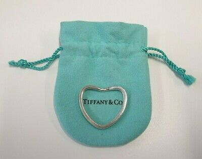 Tiffany & Co 925 Sterling Silver Heart Shape Key Ring with Pouch