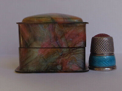 Rare German 800 Silver Enameled Red Top Thimble in Lovely Decorative Box
