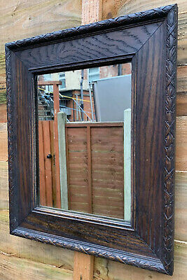 Antique Victorian Arts And Crafts Solid Oak Mirror