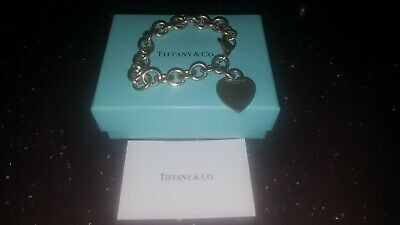 Rare Vintage Tiffany & Co Sterling Silver Heart Tag Bracelet Fully Hallmarked