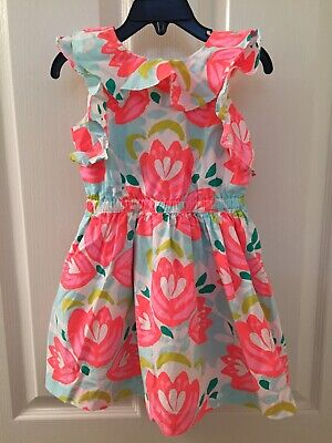 Crewcuts J Crew Girls V Back Ruffle Neon Floral Dress Pockets Size 3