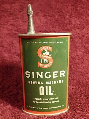 Very Nice Antique Vintage Singer Sewing Machine Oiler Lubricant Tin Can