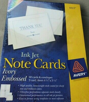 Ivory Embossed Avery 8317 Note Cards With Envelopes 60 Sets