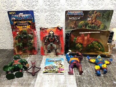 Lot Of 6 MOTU Vintage He-Man Masters Of The Universe Figures And Weapons 1980's