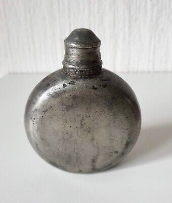 Vintage 19Th Century Solid Pewter Hip Flask