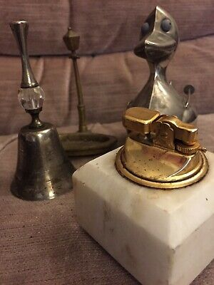 Lot Of Small Vintage Metal Items Bell Duck Lighter Dish Interesting Items
