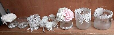 40 x rose/lace/pearl table decorations/candle votive wedding table centre party