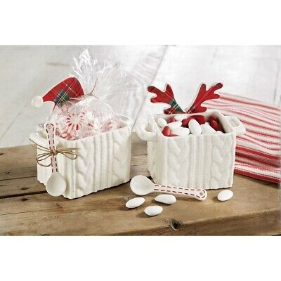 Mud Pie H9 Classic Christmas Cable Knit Tartan Candy Caddy and Spoon Set 4854086