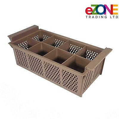 Cutlery Holder Plastic Basket Eight Compartment for Commercial Dishwasher BROWN