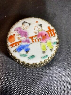 "Antique Chinese Blue WHITE Porcelain ""Child Play"" Mirror TRINKET JEWELRY BOX"