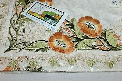 "Cottage Creations Floral 34"" X 34"" Cut Work Table Topper Embroidered"