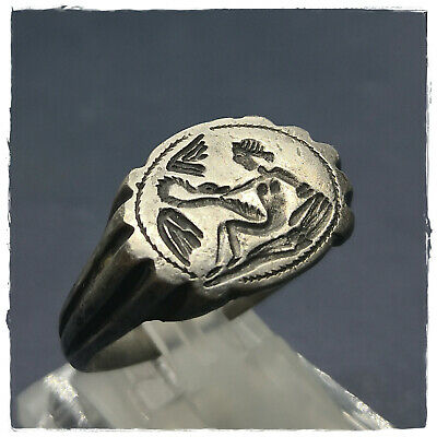 ** LEDA and SWAN ** ancient SILVER Greek-Roman ring! 12,39g