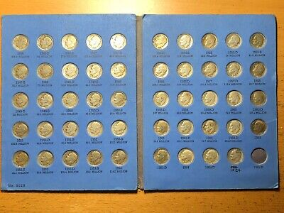 Complete Set of Roosevelt Dimes 1946 - 1964,  49 Coins Whitman Album Collection