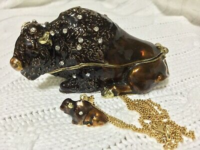 Treasures Collection Bejeweled Buffalo Trinket Jewelry Box W/Matching Necklace