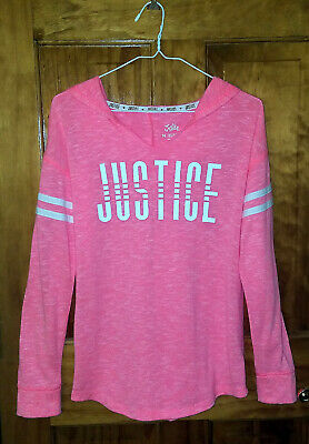 Girls Justice Neon Pink Long Sleeve Hoodie Pullover Sweater Size 14