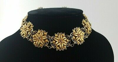 ANTIQUE SILVER FILIGREE FLORAL GOLD PLATED Necklace PW3686