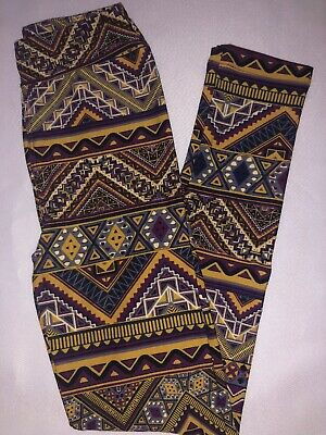 (BoxAA) LuLaRoe Kids Leggings L/XL New Purple Yellow Black White Aztec Design